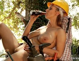 Katarina and her huge knockers workin hard on the farm