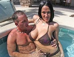 Today, we promised our boy CJ that we had a special guest coming over! CJ thought it was his birthday because he definitely didnt expect to see CARMELLA BING!!! So after getting those huge amazing boobies wet in the hot tub...CJ took this busty slut ins