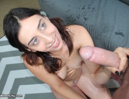 Lola strokes big dick to the point he losses control and ends up blasting her across the face