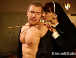 Sadistic & sexy nun seeks retribution on perverse priest with humiliation, caning, ass & pussy licking, kinky strap-on anal, and prostate milking!