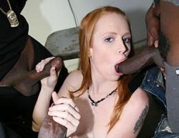 black guys pull a train on a sexy redhead