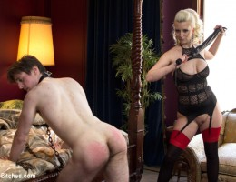Mistress Cherry Torn gives us a peek into her daily life with her personal slaveboy. Cock tease and denial, chastity and deep anal strap-on play!
