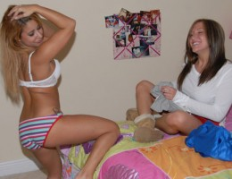 Check out this hot babe get caught masterbating in her boyfriends music studio