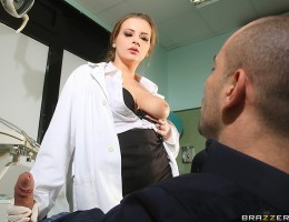 Dr. Candy Alexa might not be fluent in any of the languages her walk-in patient tried out to get the help he needed, but she quickly realized what he really needed was some urgent care to his cock. Candy ignored his oral health for a little oral treatment