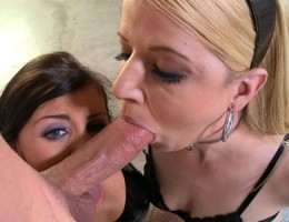 Teen Jackie Daniels takes a double cumshot to her face!
