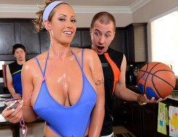 Jessy Jones was over at his friend\'s place playing some basketball when the dude\'s mom Eva Notty walked in. It was the first time he had seen her in years, and her big natural tits were even better than he remembered! She was looking fine as hell all sw