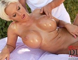 Jordan has her big tits and hot twat toyed with outdoors!