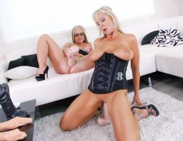 Two blonde plumpers put their slack holes to work with toys