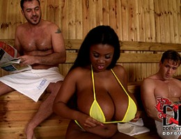 Big titty mama gets pounded by two hard cocks in hot sauna
