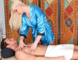 Blonde Kristen Jordan swallows every last drop of cum