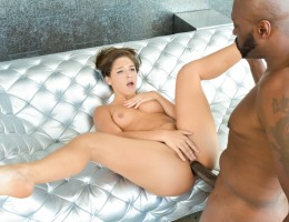 Steele gives Abella her first anal black dick on the couch