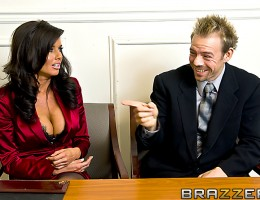 Veronica and Eric are representing a couple in a court case. Once things get heated between them in the court room they are ordered by a judge to fuck their anger out before returning to the case!