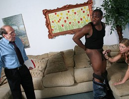 Father walks in as his daughter is about get get some interracial loving