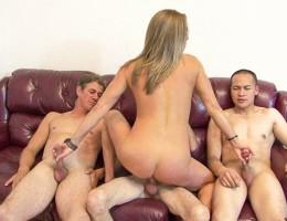 Horny blonde milf getting between a gang of hard cocks!