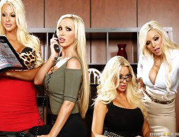 When Courtney Taylor, Nikki Benz, Nina Elle, and Summer Brielle come complaining to boss-man Keiran Lee about his asshole friend Buttler, it\'s got him in something of a tight spot. Buttler is always sexually harassing the busty blondes, and they\'ve fina